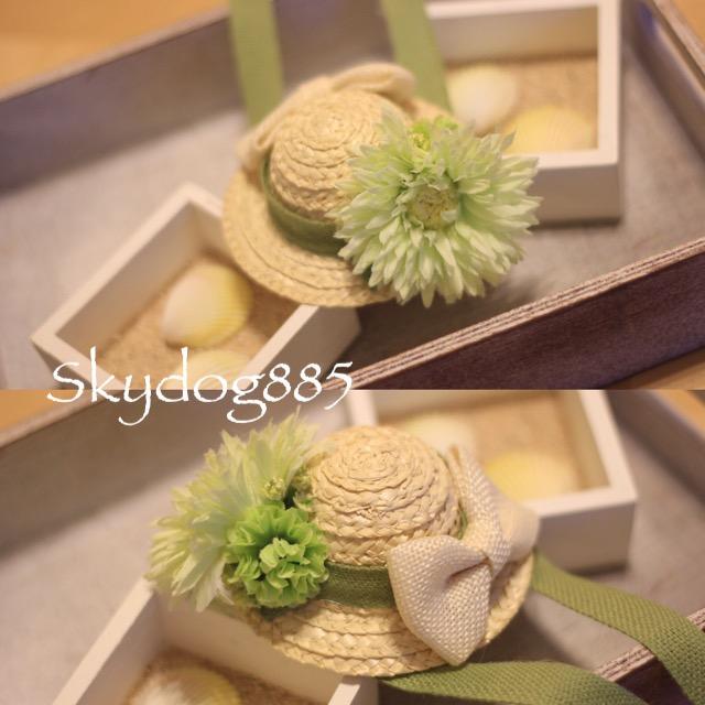 画像1: ソフィの帽子♡オフホワイト&グリーン