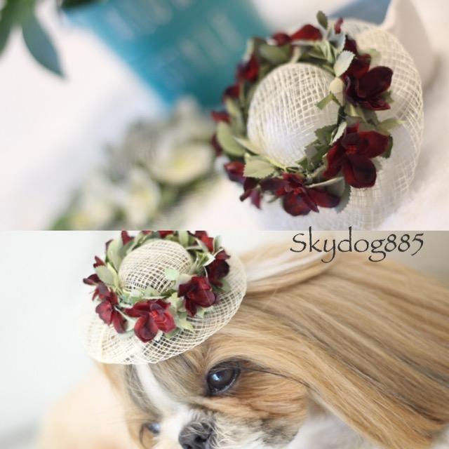 画像1: 花かんむり♡帽子♡レッド