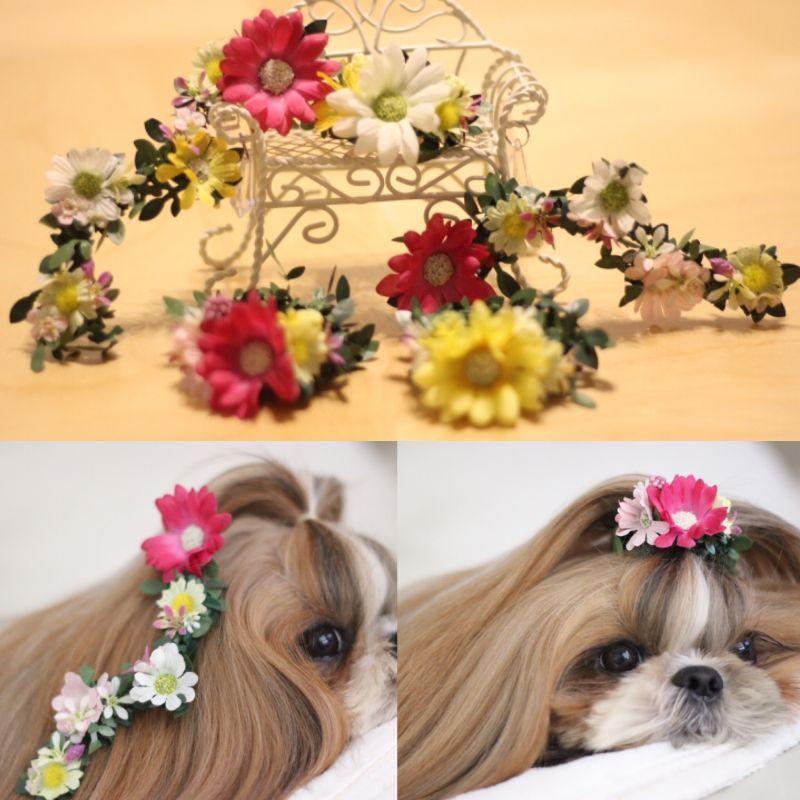 画像1: ラプンツェル♡花かんむりバレッタSS♡花飾りゴム♡単品選択