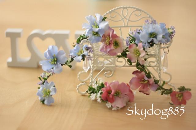 画像1: ちょんまげ花かんむり♡SSサイズ♡ライラックブロッサム♡フラワーゴム・単品選択