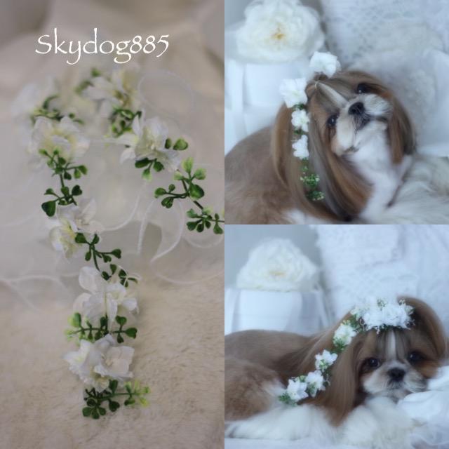 画像1: White wedding♡hanging flower(垂れ下がり)ゴム・15cm★20cm