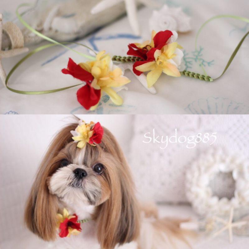 画像1: ハワイアンflower♡レッド&イエロー ミニハイビスカス コーデ♡