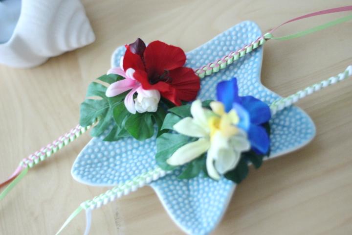 画像1: ハワイアンflower♡チョーカーハワイアンリボン ♡カラー選択