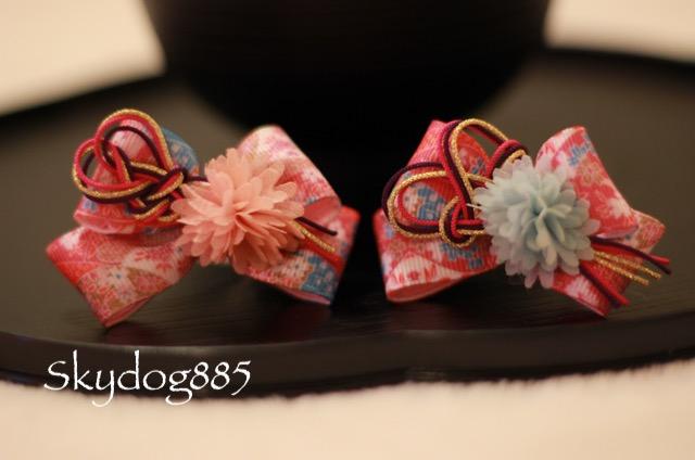 画像1: お正月リボン☆帯     ピンク《左》プラスチッククリップ