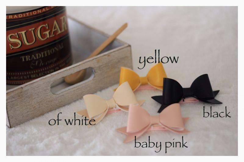 画像1: ソフトフェイクレザー♡standingバレッタ♡of white・babypink・black・yellow