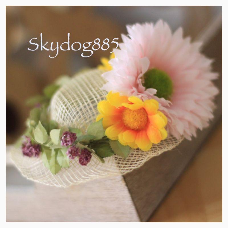 画像1: ★SALE★ガーベラ&デージー♡アレンジ帽子♡薄いピンク