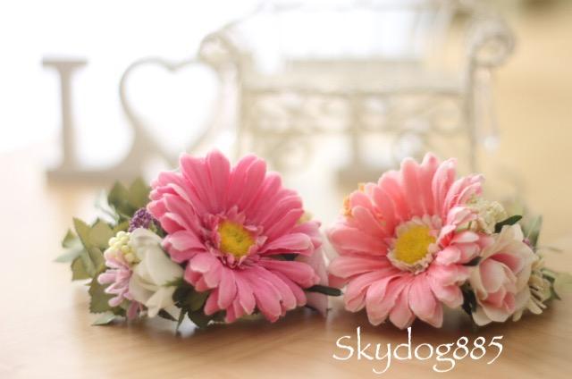 画像1: ガーベラ&ローズ♡Sサイズ花かんむり♡カラー選択