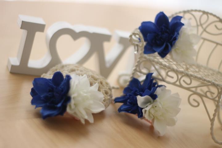 画像1: ミニダリア♡2colorバレッタ♡ホワイト&ブルー