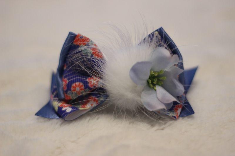 画像1: 和柄standing ribbon ★ブルー(flowerブルー)バレッタ
