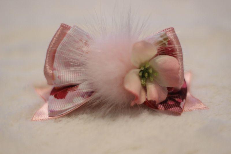 画像1: 和柄standing ribbon ★ベビーピンク(flowerピンク)バレッタ