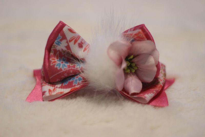 画像1: 和柄standing ribbon ★ショッキングピンク(flowerピンク)バレッタ