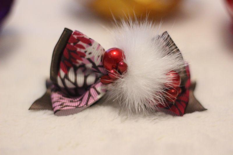 画像1: 和柄&パール★standing ribbon ★ブラウン(レッドパール)