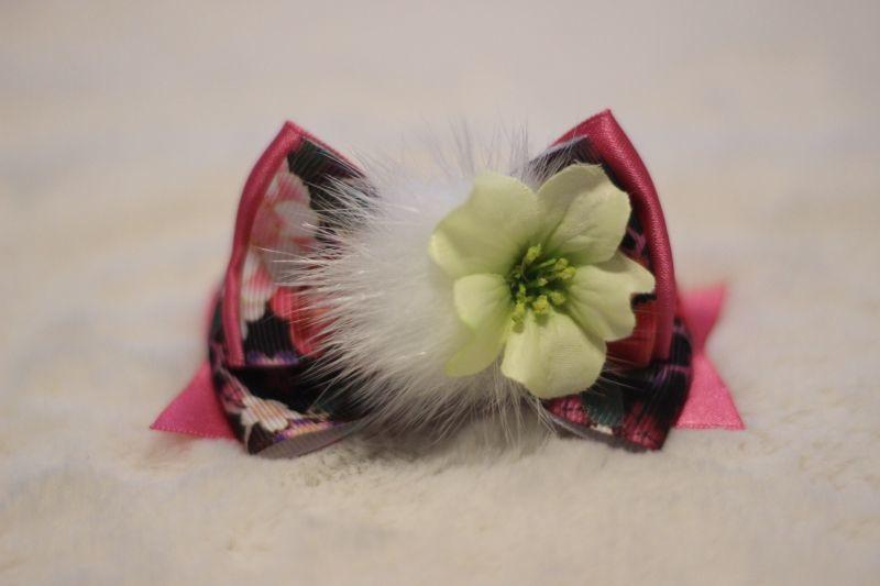 画像1: 和柄standing ribbon ★ブラック&ピンク(flowerホワイト)バレッタ