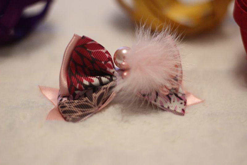 画像1: 和柄&パール★standing ribbon ★ピンク(ピンクパール)