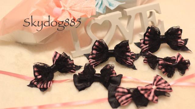 画像1: チェック&レース★ピンク★standing ribbon ★チョーカー(選択)